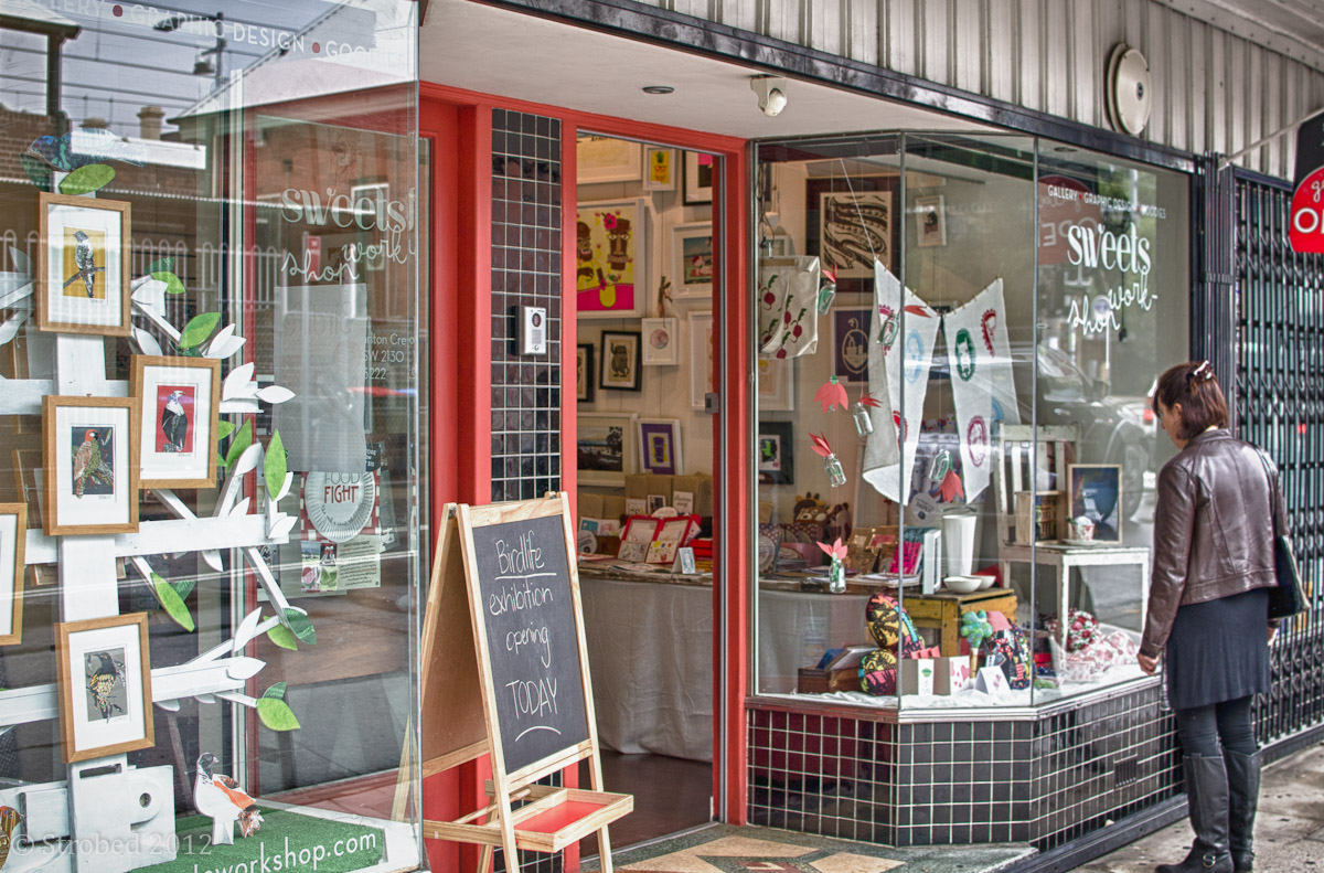 The front window of Sweets Workshop in Summer Hill