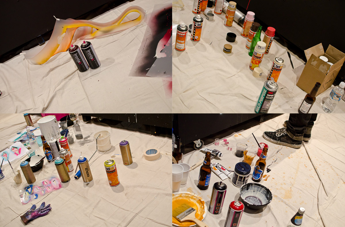 The various spray paints used by the artists.