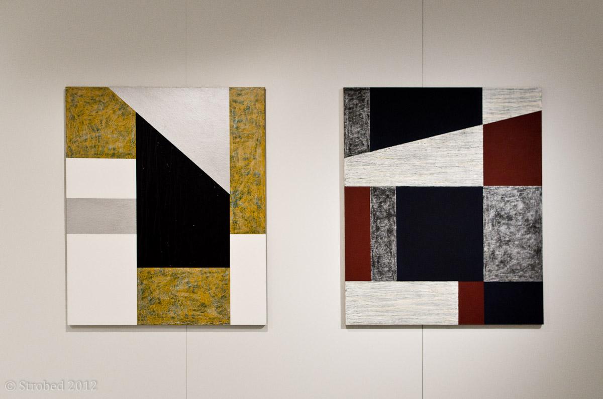 "Elizabeth Pulie's artwork at the ""Baker's Dozen"" exhibition opening"