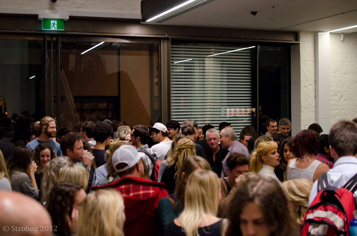 Thick crowds at the Art Month precinct party bar