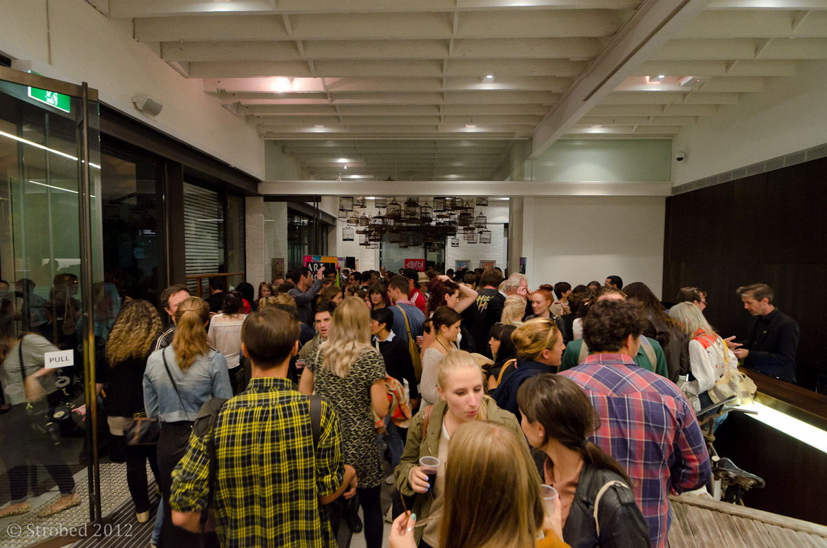 Crowds at Art Month Sydney's Audi Art Bar